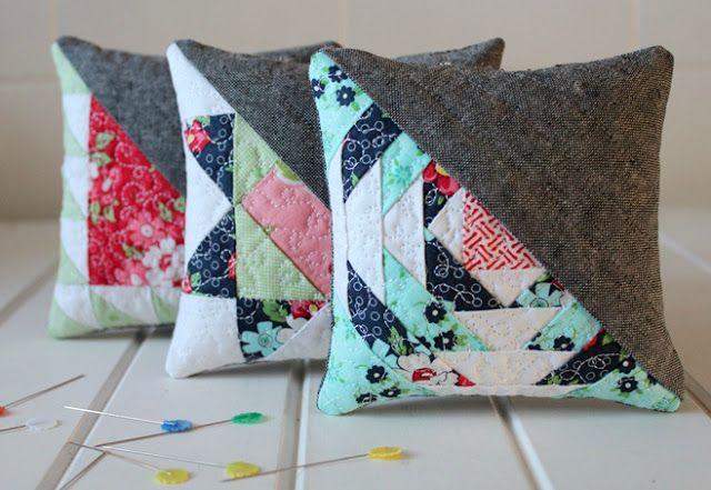 Threadbare Creations-Free Pattern- Halfsies Pincushions (Three designs)