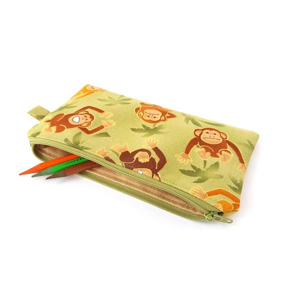 Children pencil bag Boy pencil case Monkey pencil case