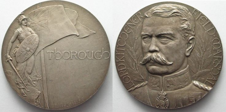 1916 British Medals LORD KITCHENER FIELD MARSHAL Auf s. Tod 1916 Bronze v. Legastelois 68mm # 95434 vz