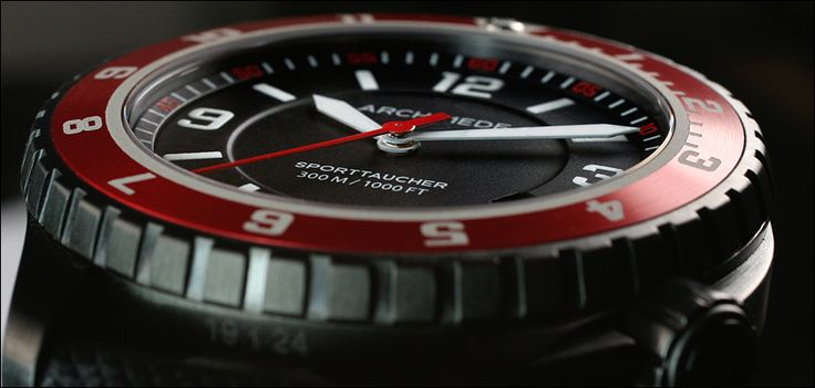 ARCHIMEDE SportTaucher Black PVD with red bezel