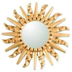 NOVICA Mohena Wood Modern Carved Handmade Mirror