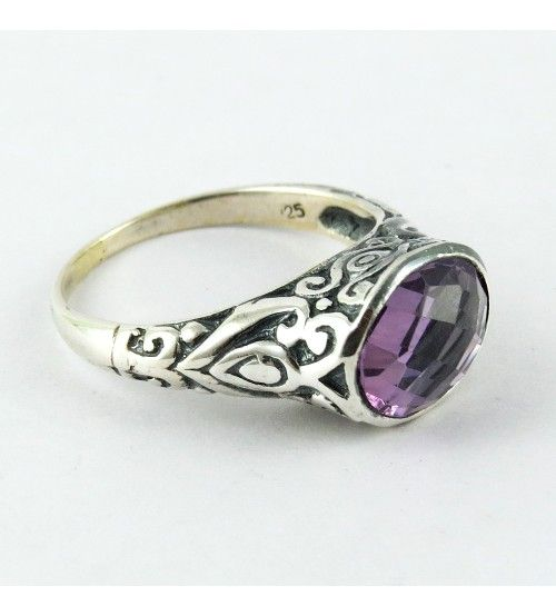 Excellent Look Of Natural Amethyst !! 925 Sterling Silver Ring