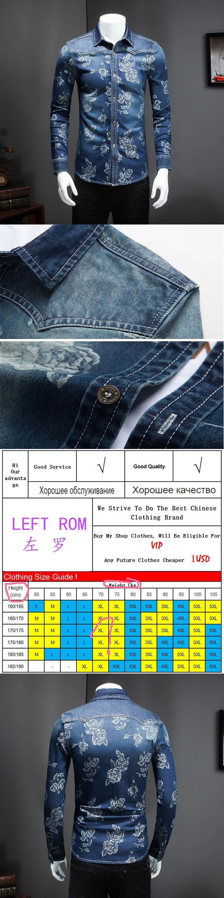 Shirt Jeans Long Sleeve Men 2017 New Male Cotton Jeans Shirt Boy Best Popular Selling Shirt Large Size S-5XL Left Rom Hot Sale