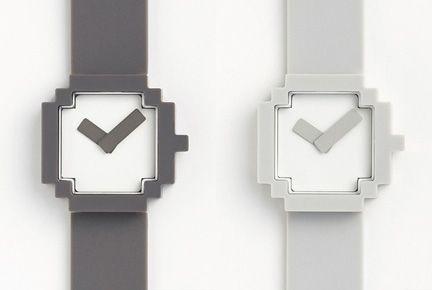 Icon watch featured on Design Milk: Design Industrial, Geek, Pixel Watches, Icons, Pixelated Watches, Paired Watches, Pixel Art, Icon Watches