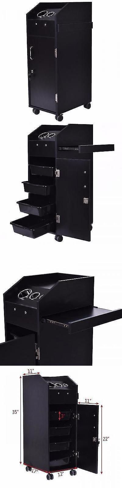 Stylist Stations and Furniture: Black Wood Locking Styling Station 4 Drawer Trolley Cart Tattoo Salon Equipment -> BUY IT NOW ONLY: $142.99 on eBay!
