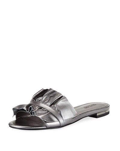 bac5e36ab Michael Kors Bella Ruched Slide Sandal Size 8  fashion  clothing  shoes   accessories  womensshoes  sandals (ebay link)