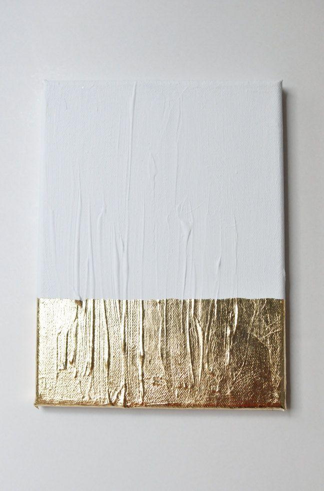 Modern contemporary gold white painting on canvas