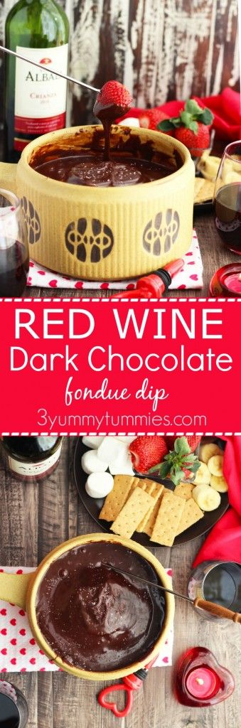 Subtle flavors of red wine and raspberry make this dark chocolate fondue irresistable! You may just want to eat it with a spoon.