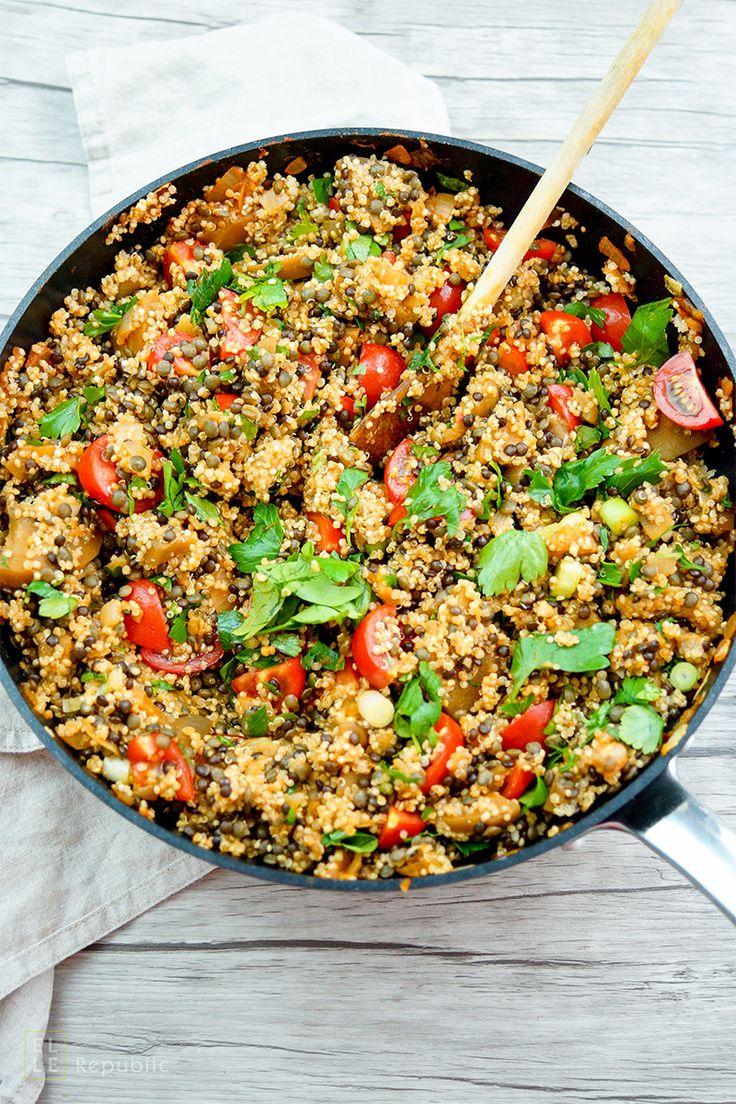 Linsen Quinoa Salat mit Aubergine und Tomaten Rezept, Vegan, Vegetarisch, Low-Carb, LowFat, healthy, gesunde Rezepte Elle Republic