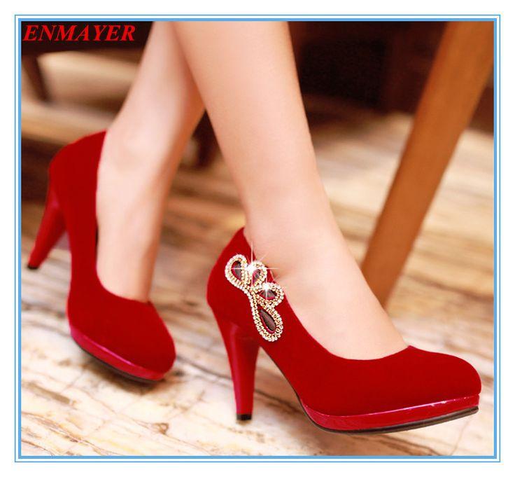 Туфли на высоком каблуке eNMAYER женщины круглый носок золотника высокие каблуки платформы стадо горный хрусталь мода сексуальный стиль размер 34 - 43 два цвета для дам