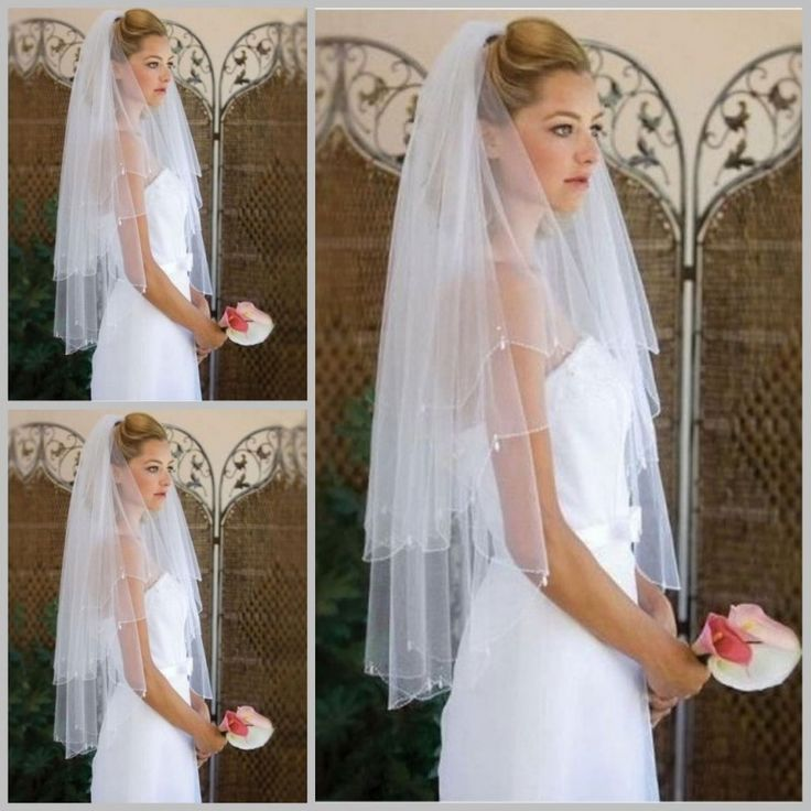 See Though In Store Cheap Two Layers Cut Edge Beaded Tulle Short Bridal Wedding Veils Bridal wedding accessories Free Shipping