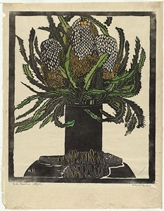 Margaret Preston 'West Australian banksia' c.1929 woodblock print    Prints and printmaking Australia Asia Pacific  : This is free online link to over 22,000 images. The databases can be searched by artist, subject or print techniques such as etching, woodcut, wood-engraving, linocut, lithograph, screenprint, monotype and other print related processes such as posters and artists   This service is an initiative of Roger Butler, Senior Curator of Australian Prints and Drawings, National…