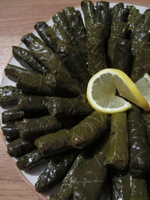 In search of a recipe for my favorite type of stuffed grape leaves...Yalanchi (Vegetarian Stuffed Grape Leaves) from Mission: Food