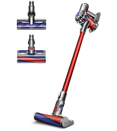 Front view of the Dyson V6 Fluffy Pro cordless vacuum cleaner.