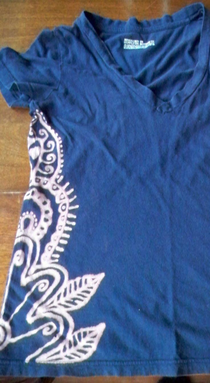 Bleach pen design shirts - Use foil underneath, draw with bleach pen,