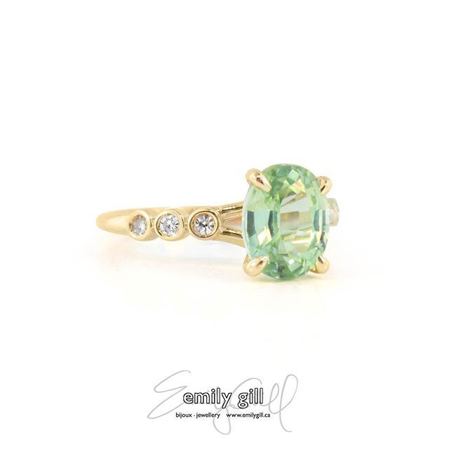 Zesty key lime, cool mint, or silky chartreuse, depending on your mood. #aquamarine #greenberyl #labsapphire #engagementring #color #jewellery #madeyoulook #tgif #friday #wedding #spring #greengold #yellowgold #diamondjewelry #alternativebride