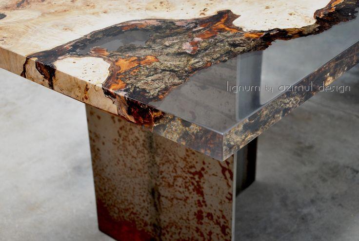 Tavolo in radica di pioppo e resina con base ferro corten, Lignum by Azimut design. Bespoke table with poplar root and resin, Lignum by Azimut design.