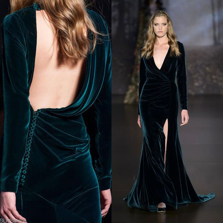 Teal-green velvet gown. Best look at Ralph & Russo Fall Winter 2015 Haute Couture PFW PFW15