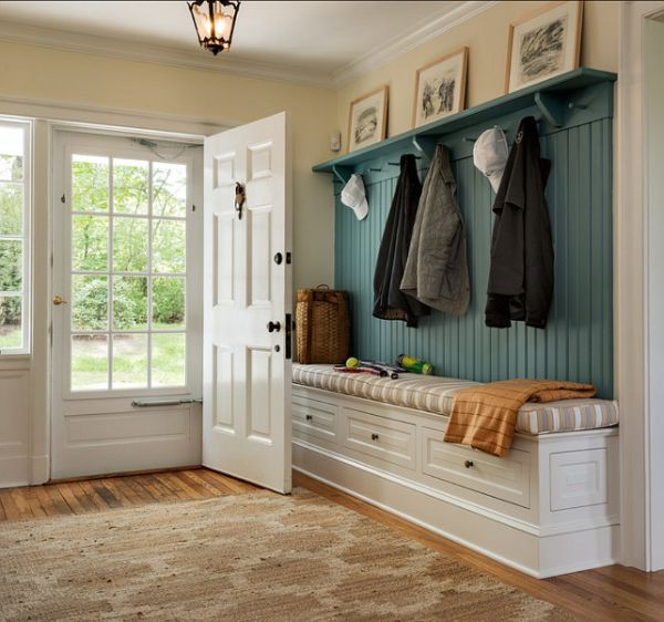 Love this for the foyer area in the basement.  Drawers for shoes & supplies.  Hangers for towels from hot tub