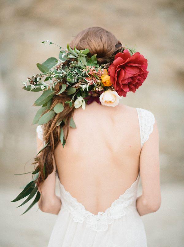 wedding hair with flowers - photo by Apryl Ann Photography http://ruffledblog.com/coastal-bride-wedding-editorial