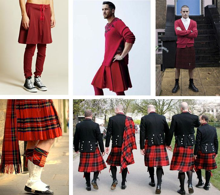 Men wearing red outfits, men in red, full red fashion, red style, streetstyle, menswear, SS18, FW18, kilt, kilts, scottish style,
