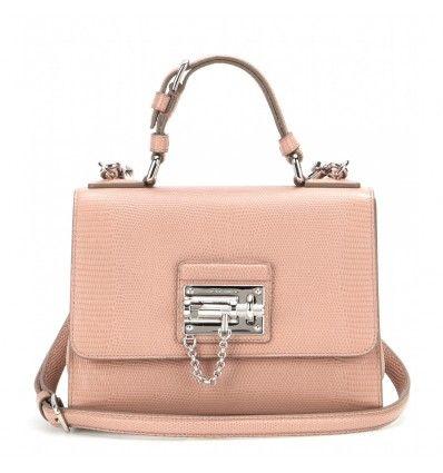 Puderfarbene Tasche Monica Mini aus Leder By Dolce & Gabbana