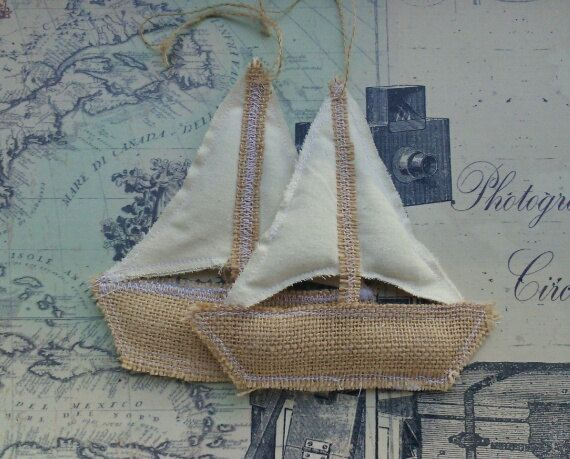 Nautical/Beach theme Ornaments: Sail Boats by lakecountrycottage, cute decor for boys room
