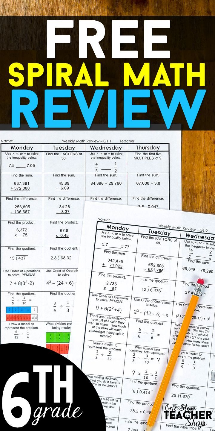 6th Grade Math Spiral Review | 2 Weeks FREE | Middle School