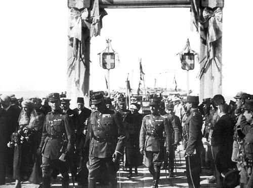 1919 Greek forces parades through the streets of Smyrna commencing the Greco-Turkish War (1919-1922)
