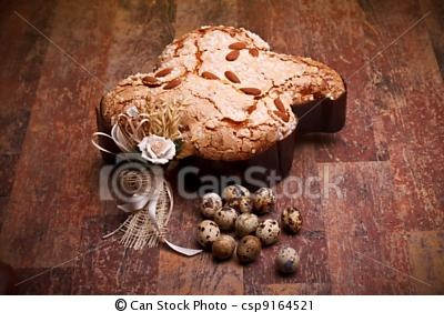 Stock Photo - Italian Easter Dove And Quail Eggs - stock image, images, royalty free photo, stock photos, stock photograph, stock photographs, picture, pictures, graphic, graphics