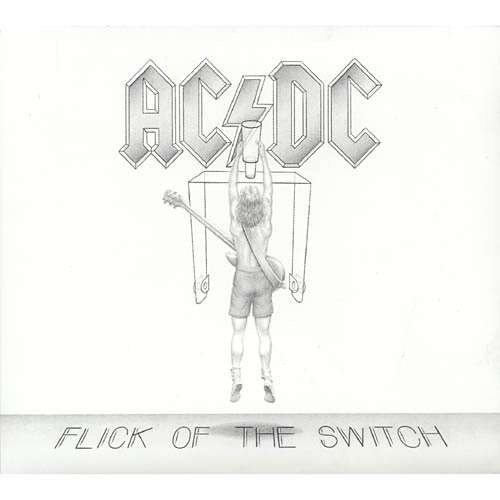 AC/DC Flick Of The Switch- I used this  cover because most people probably have Back in Black, and this one is probably one of my favorite album arts. Also for the kiddies, this is from 1983, just in case you wanted to know (; anyway... Favorite band right here, would set fire to an animal shelter full of every endangered species and $100,000 to see them