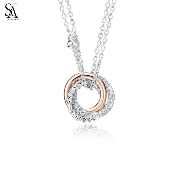 Silver Necklace with Rose Gold CZ Love Knot Pendant | Genuine 925 Sterling Silver