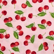 Kiss the Cook Tossed Cherries Pink by Robert Kaufman