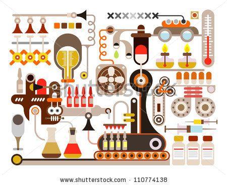 Pharmaceutical Laboratory - Vector Illustration On White Background. Medical Factory. - 110774138 : Shutterstock