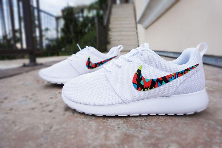 Womens Custom Nike Roshe Run sneakers, White on White nike roshe, trendy, stylish design, tribal pattern, All white shoes, lime, blue, kiwi colors