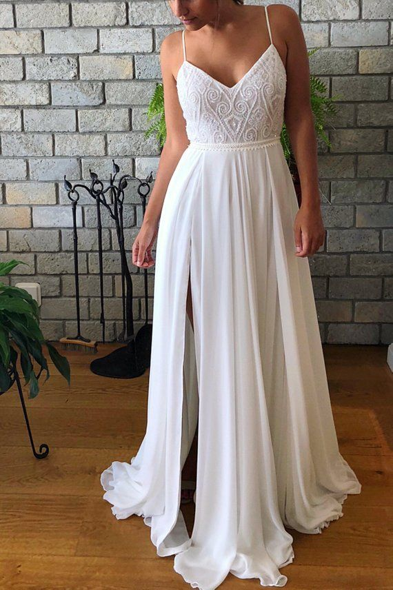 Bridal Costume, Ivory Marriage ceremony Robe, Boho Marriage ceremony Costume, Open Again Marriage ceremony Costume, Beaded Lace, Slit Chiffon Skirt, Romantic Marriage ceremony Costume