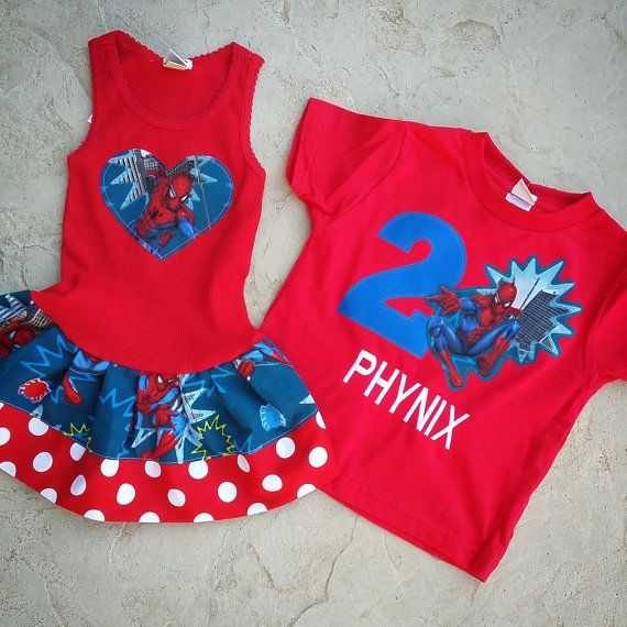 Spiderman Dress Spiderman Shirt Sibling by GraceMadisonDesigns