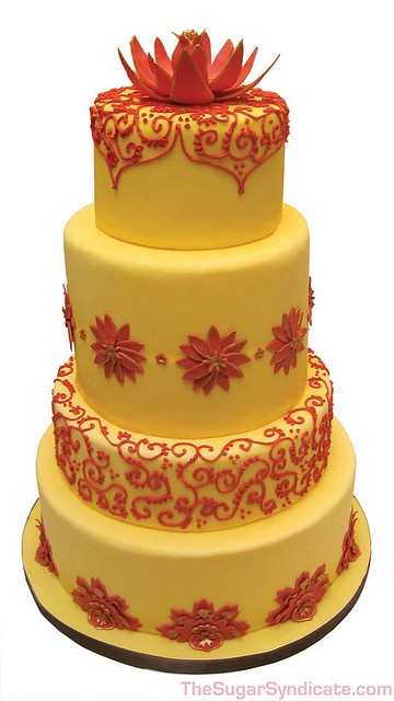 Indian wedding lotus bedecked yellow red cake ~really beautiful but I think I would want it in blue and purple. ~J.