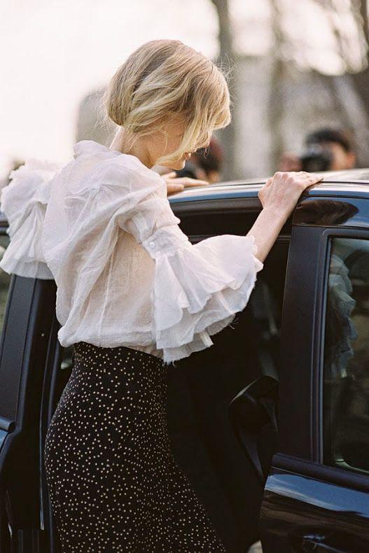 Beautiful sleeves on Vanessa Jackman: Paris Fashion Week AW 2014 / #MMloves