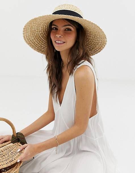 95f0953a ASOS DESIGN curve crown flat brim straw hat | ss2020 hats in 2019 ...