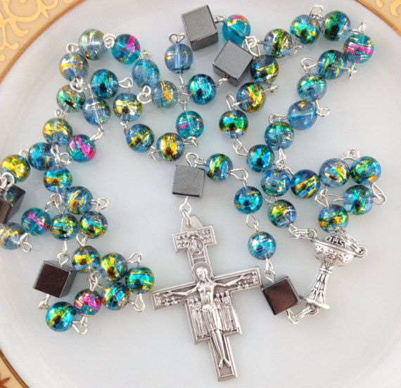 Turquoise Rosary Unisex Gift Confirmation by AwfyBrawJewellery