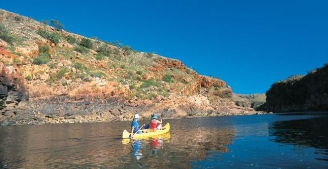 Kimberley 4WD Discovery Tours- Dimond Gorge at Monington Station in the Kimberley: perfect spot for swimming and canoeing on another one of those perfect sunny days.