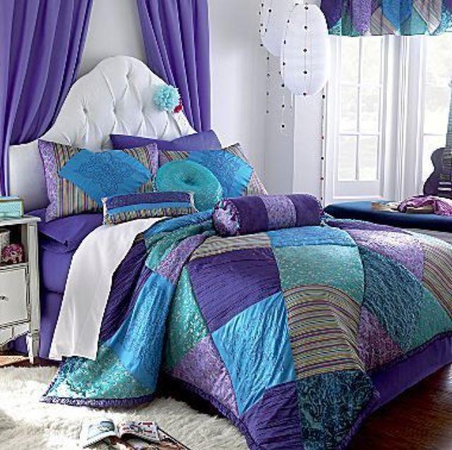 bedding blue green purple patchwork beautiful