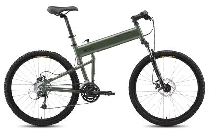 Montague Paratrooper Tactical Folding Mountain Bike: The Paratrooper® is a full size, 24 speed mountain bike designed to endure any terrain at high speed in silence with no heat signature. In addition to the high performance feature, the bike folds simply without the use of tools.