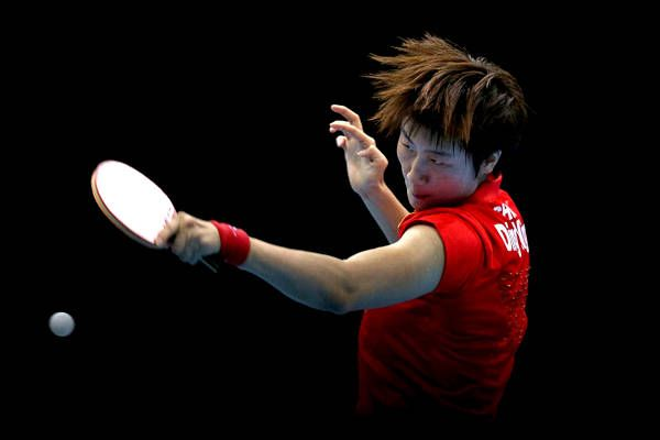 Ding Ning of China in Women's Team Table Tennis semifinal match in London 2012