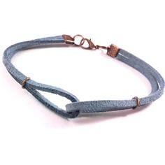 Bracelet en suédine bleu pour homme