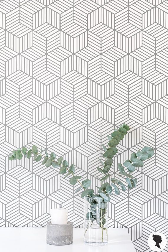 Removable Wallpaper / Cube Pattern Geometric Wallpaper by Livettes
