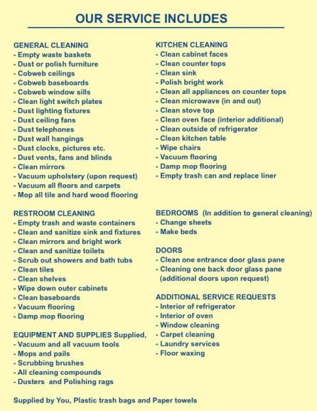 home cleaning products list | Our Services » Long Island Cleaning Service