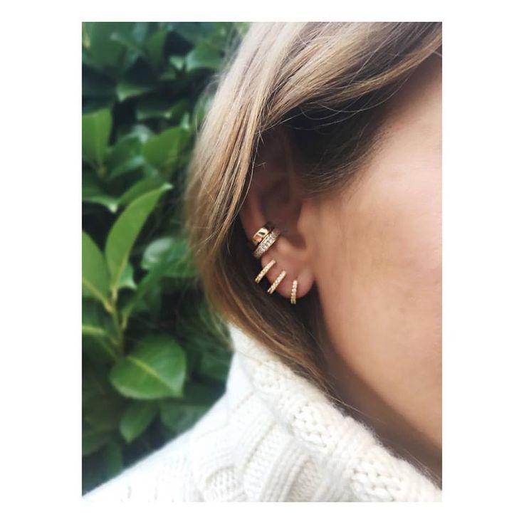 Huggies Earrings, Hoop Earrings, CZ Pave Ear Cuff, Pave Hoops, Pierced Ear Cuff, Ear Wrap, Single Row CZ Earrings, Hoops, Huggie by iPreciousgr on Etsy