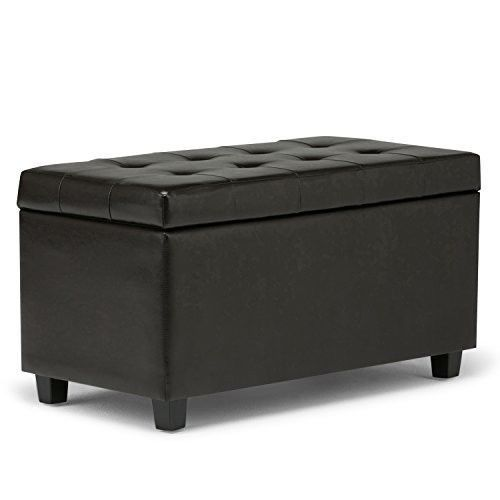 Large Storage Ottoman Tufted Furniture Leather Foot Stool Bench Trunk Brown  Home #SimpliHome #BenchTrunk